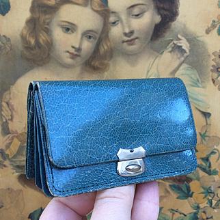 Antique Neccessaire Purse. Gorgeous Teal Leather in Fabulous Condition, for French Fashion Poupée; Bru, Jumeau.