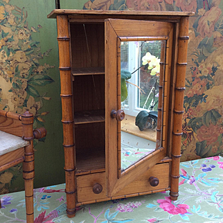 French Antique Faux Bamboo Armoire for French Fashion or Bebe display.