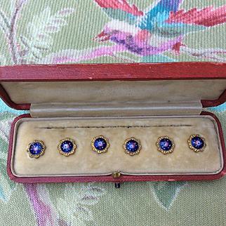 Beautiful Set of Tiny Antique Enamel Buttons. Fabulous Quality.