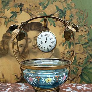 Beautiful Antique French Ormolu and Glass Trinket Dish Watch stand with Unusual Antique Enamel Faux Watch. For Fashion Doll or Bebe Display /Accessory. Bru, Jumeau etc.