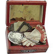 Wonderful miniature Antique trunk with Antique accessories for your French Fashion Doll or Bébé