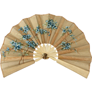 Lovely Small Antique French Fashion Doll Fan 4.25""