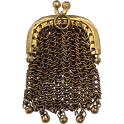Small Antique gilt metal mesh purse for your French Fashion Doll