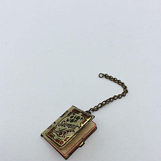 """Miniature 0.75"""" Antique Tinplate notebook for your French Fashion Doll or Bebe"""