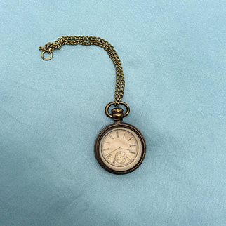 """Antique faux fob watch / French Fashion doll or Bebe accessory. 1"""""""
