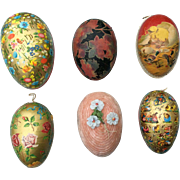 Six lovely Vintage cardboard Easter Eggs,  mostly German. For Mignonette display.