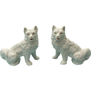 Lovely Antique pair of Bisque Pomeranian Dogs for display with your French Fashion Doll, Bebe, or Mignonette.