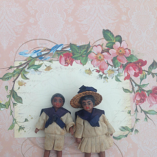 Sweet pair of French Mulatto All Bisque Lilliputian mignonettes with bare feet. Lovely A/O sailor costumes.