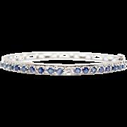 14k White Gold Bracelet Sapphire and Diamond Bangle Scroll Ornaments