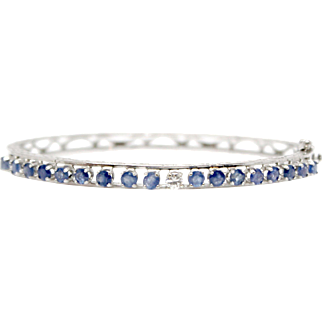 14k White Gold Bracelet Sapphire and Diamond Bangle Scroll Ornaments