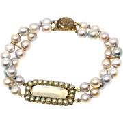 Georgian center Victorian strand bracelet 1810-1825 Pearls Moonstone