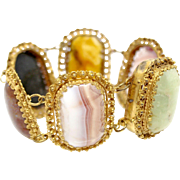 Natural Agate Stone gold filled bracelet multistone multicolor vintage yellow