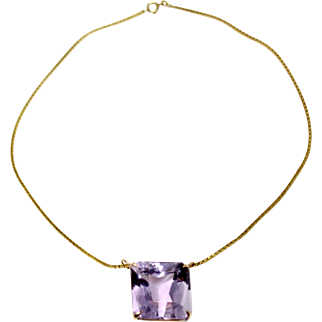 14k Yellow Gold step cut amethyst on 14 k Chain