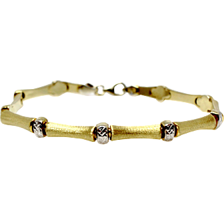 Yellow and White Gold Bracelet Vintage Link Chain