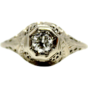 18k Diamond Filigree 0.23 ct Antique Cut Edwardian Ring in white gold