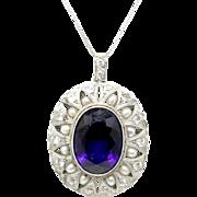 Art Nouveau Circa 1910 Siberian Amethyst, Diamond & Natural Pearl Pendant (Circa 1910)