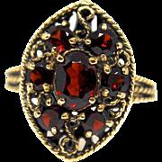 Vintage 1920 14k Gold 1.95 Ct Bohemian Garnet Filigree Ring