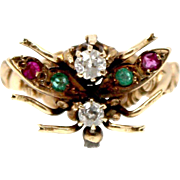 Unique Multi-stone Butterfly Vintage Gold Ring 15k