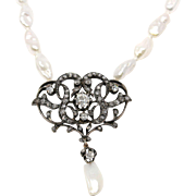 Antique Bridal Pearl & Diamond Pendant and Necklace, 1ct Diamond Center Silver