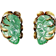 Vintage Green jade butterfly wing carvings 14k Yellow Gold clips 1930s