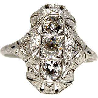 Antique Diamond RIng Platinum 1.5 ct three stones Edwardian Shield
