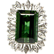 Emerald cut Tourmaline and Diamond ring in 14k White Gold
