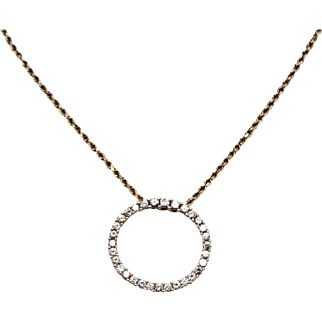 Sale! Diamond Circle Halo Necklace Pendant Yellow Gold, Negotiable price