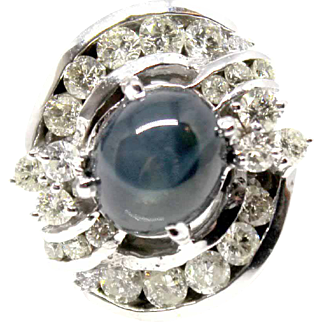 14k white gold natural black star cabochon Sapphire and Diamond cocktail ring
