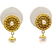 Sale! 14k Yellow Gold and Pearl fashion stud drop earrings with filigree details
