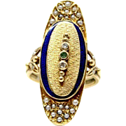 Vintage 18k Yellow Gold Enamel, Pearl, Diamond and Emerald Ring