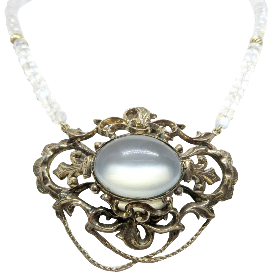 10k moonstone vintage filigree necklace in yellow gold for 10k gold jewelry