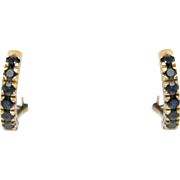 14k Yellow Gold sapphire earrings Half Hoop 2.10ct Vintage