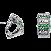 14k Diamond & Demantoid Garnet set in White Gold Earrings 1960s