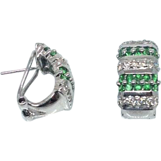 14k Diamond & Demantoid Garnet set in White Gold Earrings 1960s
