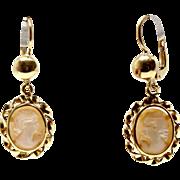 18k Cameo Earrings 1920 Yellow Gold Dangling profile woman rome
