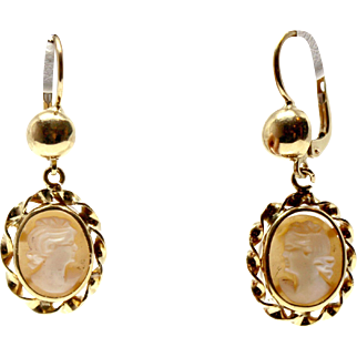 18k Cameo Earrings 1920 Yellow Gold Dangling profile woman rome