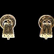 Victorian Enamel and Gold 1870-1880s Earrings Drop