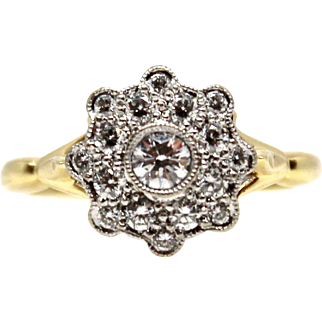 Flower Diamond Ring 14k Two-tones Yellow and White Gold