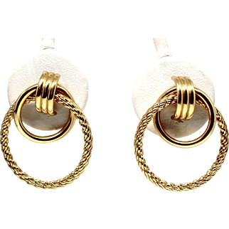 14k Yellow Gold plain within textured hoop posts earrings
