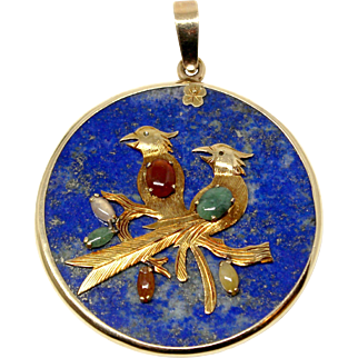 14k Yellow Gold laps pendant with double bird applique