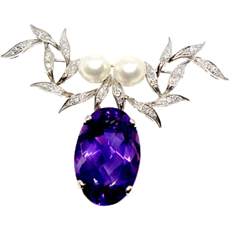 14k White Gold Amethyst brooch with diamonds and pearls drop vintage