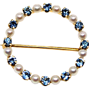 14k Yellow Gold Pearl and Sapphire Circle Brooch Pin that can be a pendant