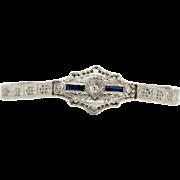 14k White Gold Art Deco Diamond and Sapphire Filigree Bracelet