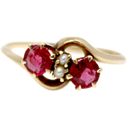 10k Victorian Ruby and Seed Pearl Ring