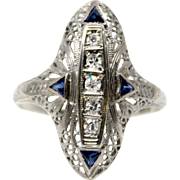 18k White Gold Art Deco Sapphire Ring Diamonds