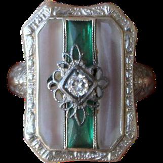 14k White Gold Art Deco Edwardian Rock Crystal Emerald Diamond Ring
