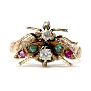 Unique Multi-stone Butterfly Antique Gold Ring Gemstones Diamond Emerald Ruby