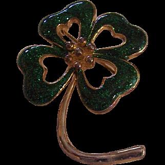 Lucky green enamel four leaf clover brooch