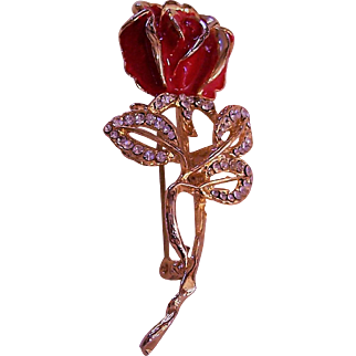 Red enamel rose brooch with rhinestones and gold stem