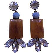 Attractive large Faux Amber Earrings with Rhinestones and turquoise glass accents